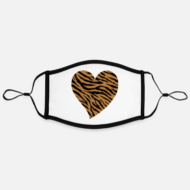 Pattern Tiger Print Heart Tiger Animal Skin Pattern - Adjustable Contrast Face Mask (Large)