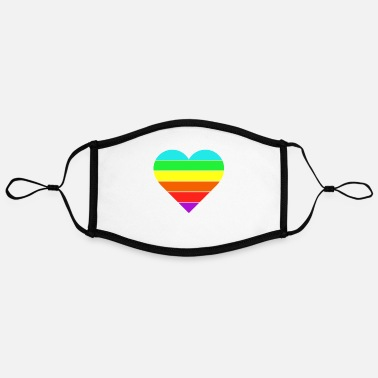 Miscellaneous Heart Gay Flag Gay Lesbian Pride Parade - Adjustable Contrast Face Mask (Large)