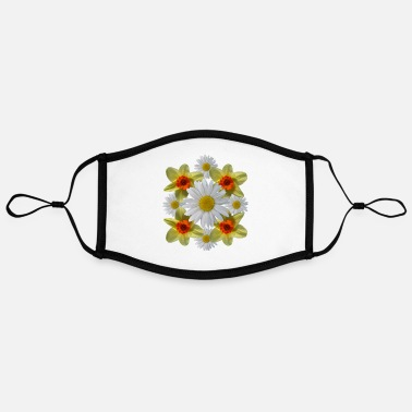 daisies floral bloom daisy spring daffodil florets - Adjustable Contrast Face Mask (Large)