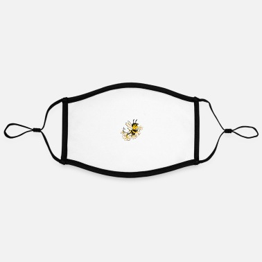 Cute Cute bee with white flower cartoon bee gifts - Adjustable Contrast Face Mask (Large)