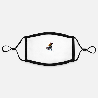 Streetwear Scooter guy awesome streetwear scooting - Adjustable Contrast Face Mask (Small)