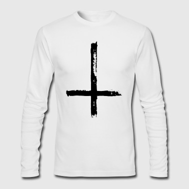 Large Black Satanic Cross - Men's Long Sleeve T-Shirt by Next Level