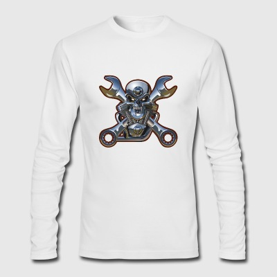 Metal Skull And Wrenches - Men's Long Sleeve T-Shirt by Next Level