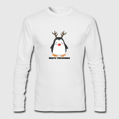 Red Nose Penguin Merry Christmas funny tshirt - Men's Long Sleeve T-Shirt by Next Level