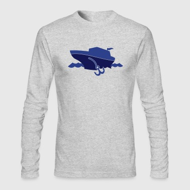 cruise sail boat on the ocean with waves and an anchor - Men's Long Sleeve T-Shirt by Next Level