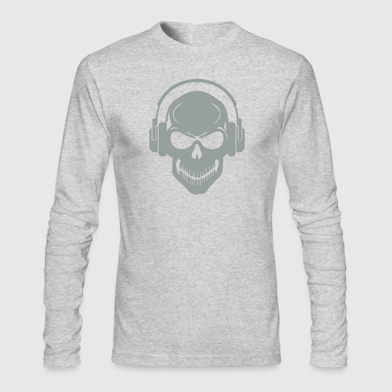 Skull with Headphones - Rave - Electro - Hardstyle - Men's Long Sleeve T-Shirt by Next Level