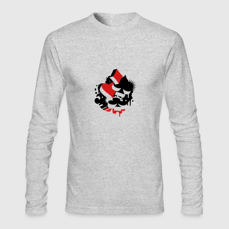Four playing cards symbols Heart, spade, diamond, club  - Men's Long Sleeve T-Shirt by Next Level