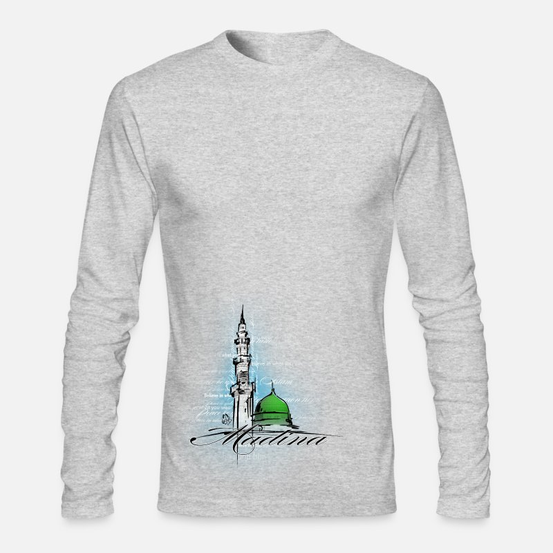 Islam Long sleeve shirts - Masjid Nabawi White - Men's Longsleeve Shirt heather gray