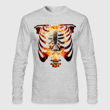 Burning Skull And Rib Cage - Men's Long Sleeve T-Shirt by Next Level