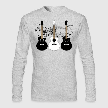 Black and White Acoustic Guitars - Men's Long Sleeve T-Shirt by Next Level