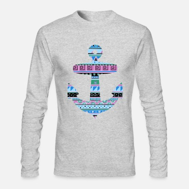 Anchor with Blue Tribal Pattern - Men's Long Sleeve T-Shirt by Next Level