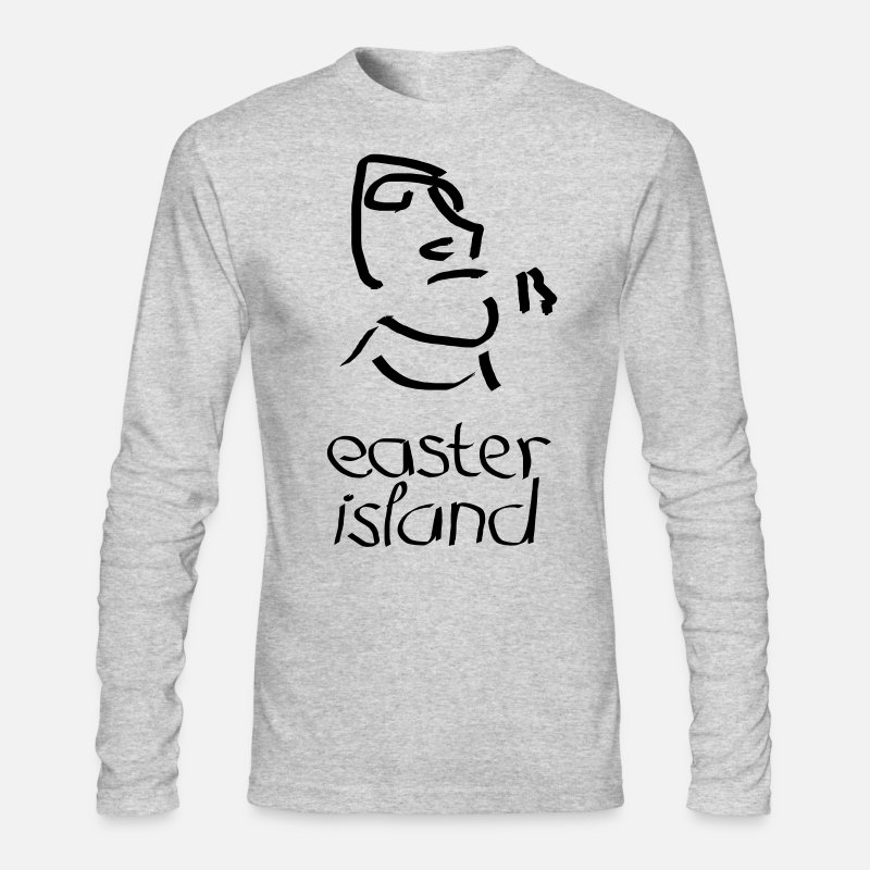 Ancient Long sleeve shirts - Easter Island Moai Ancient Shirt (Text) [Longsleeve] - Men's Longsleeve Shirt heather gray