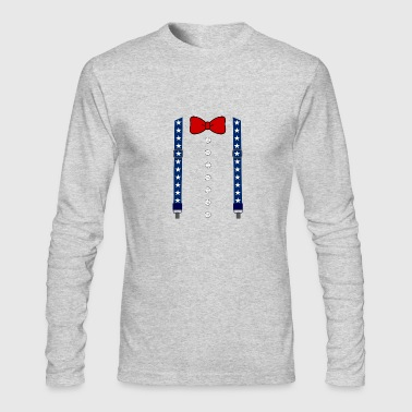 Funny Suspenders American Flag Bowtie Costume - Men's Long Sleeve T-Shirt by Next Level