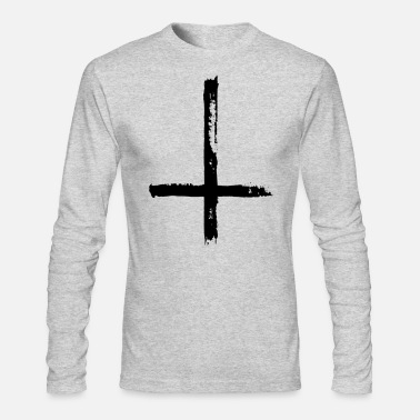 Cross Large Black Satanic Cross - Men's Long Sleeve T-Shirt by Next Level