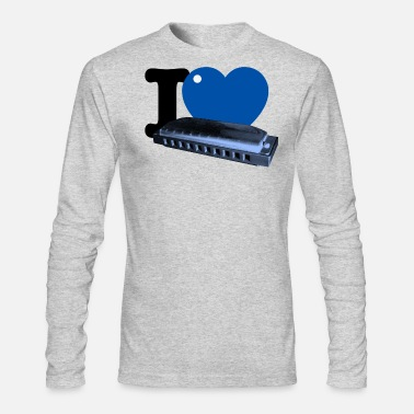 I Blues Heart Harp Harmonica white tee Men's T-Shirt - white
