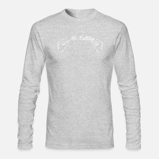 Up Long-Sleeve Shirts - Mr Roll It Up - White Text Version - Men's Longsleeve Shirt heather gray