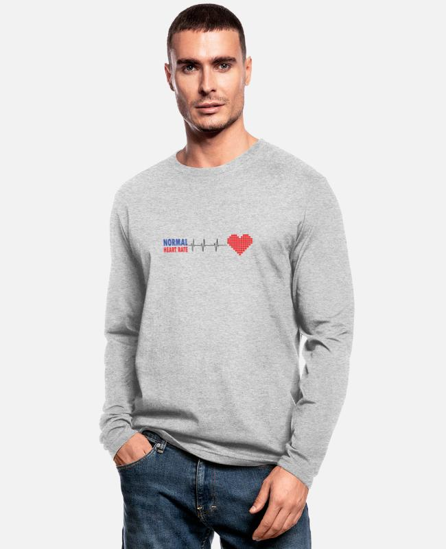 Heart Long-Sleeved Shirts - Normal heart rate t shirt. - Men's Longsleeve Shirt heather gray