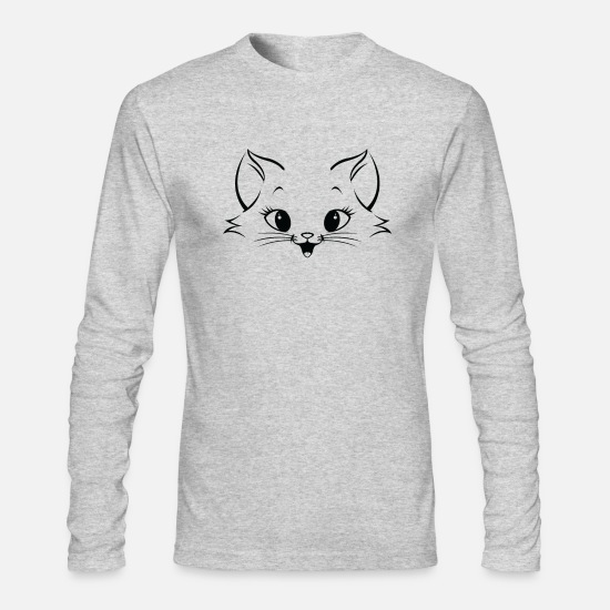 Birthday Long-Sleeve Shirts - Cat Face Domestic Cute - Men's Longsleeve Shirt heather gray