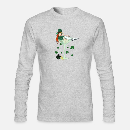 Day Long-Sleeve Shirts - Irish Girl Martini - St. Patricks Day - Men's Longsleeve Shirt heather gray