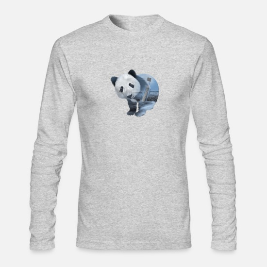 Animals Long-Sleeve Shirts - Panda With A Message - Double Exposure Gift Style - Men's Longsleeve Shirt heather gray