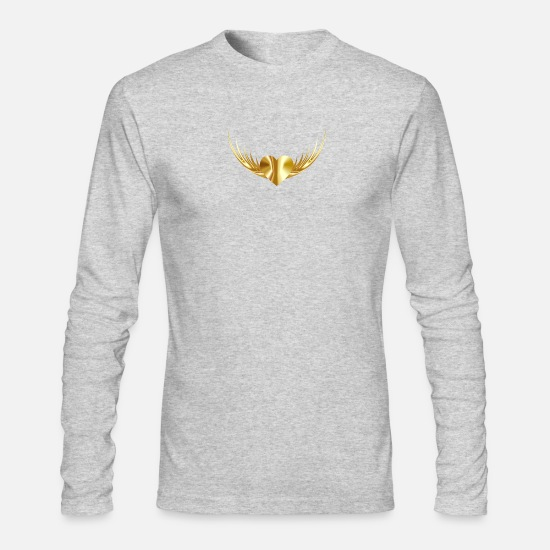 Love Long-Sleeve Shirts - Gold Heart - Men's Longsleeve Shirt heather gray