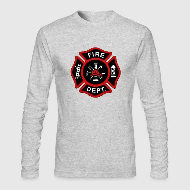 Red Fire Department Badge - Men's Long Sleeve T-Shirt by Next Level