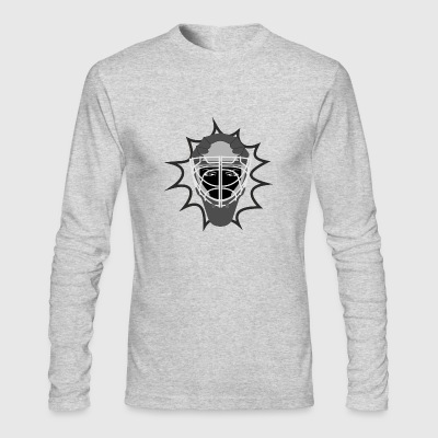 Ice hockey helmet protective grill and evil eyes - Men's Long Sleeve T-Shirt by Next Level