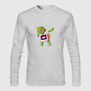 Cambodia Dabbing Turtle - Men's Long Sleeve T-Shirt by Next Level