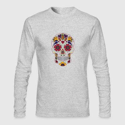 Day Of The Dead Sugar Skull Dark T shirt - Men's Long Sleeve T-Shirt by Next Level