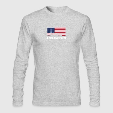 Los Angeles CA American Flag Skyline - Men's Long Sleeve T-Shirt by Next Level
