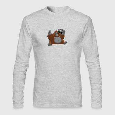 orangutan tape monkey music animal wildlife - Men's Long Sleeve T-Shirt by Next Level