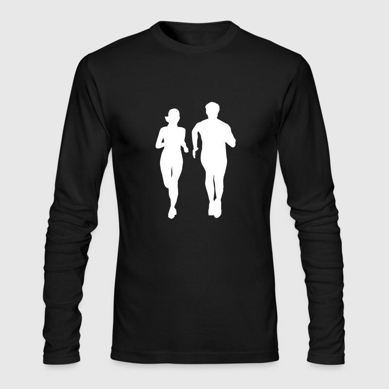 running man and woman - Men's Long Sleeve T-Shirt by Next Level