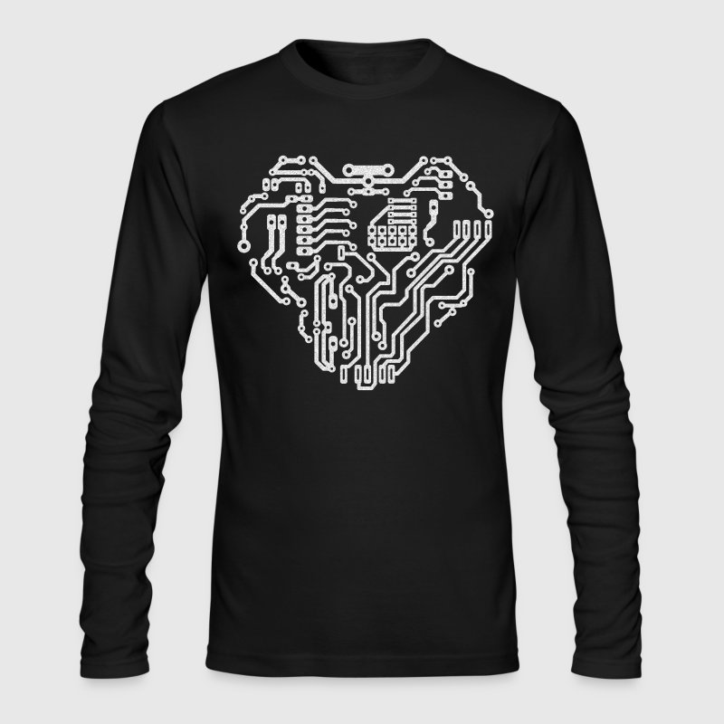 Heart printed circuit board - Men's Long Sleeve T-Shirt by Next Level