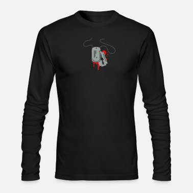 Chain Dog Tag with razor blade - Men's Long Sleeve T-Shirt by Next Level