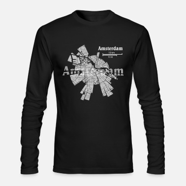 State Amsterdam Map - Men's Long Sleeve T-Shirt by Next Level