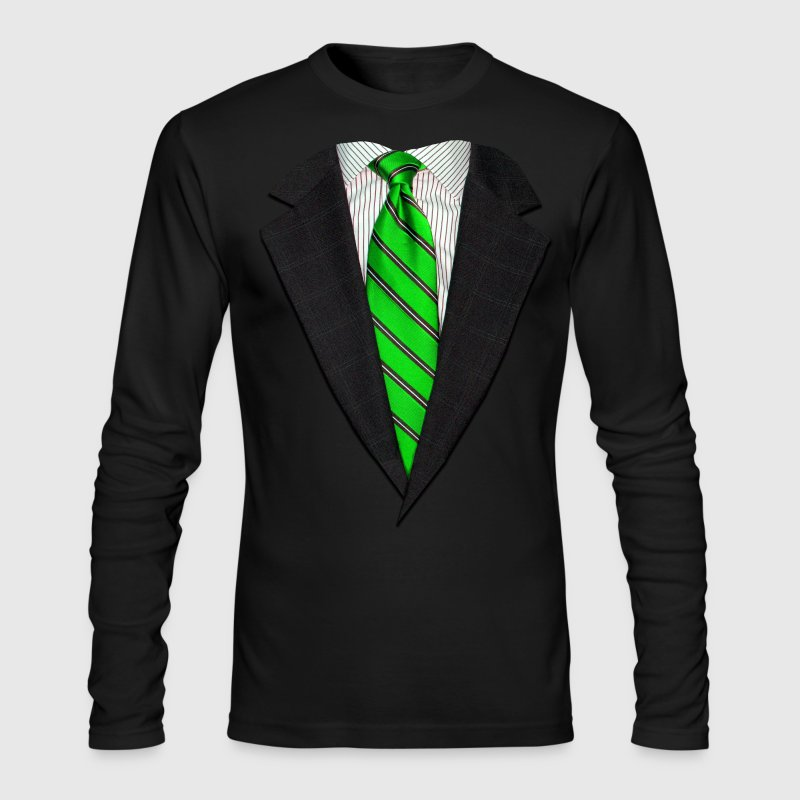 Realistic Suit and Neck Tie Green - Men's Long Sleeve T-Shirt by Next Level