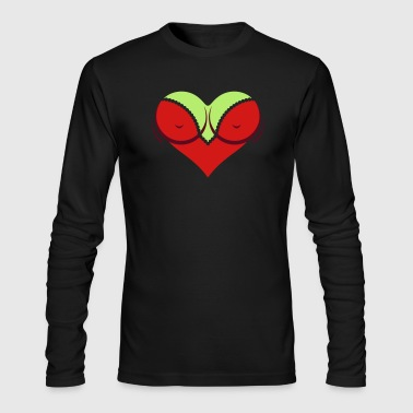Heart-shaped Woman's Breasts With Deep Cleavage - Men's Long Sleeve T-Shirt by Next Level