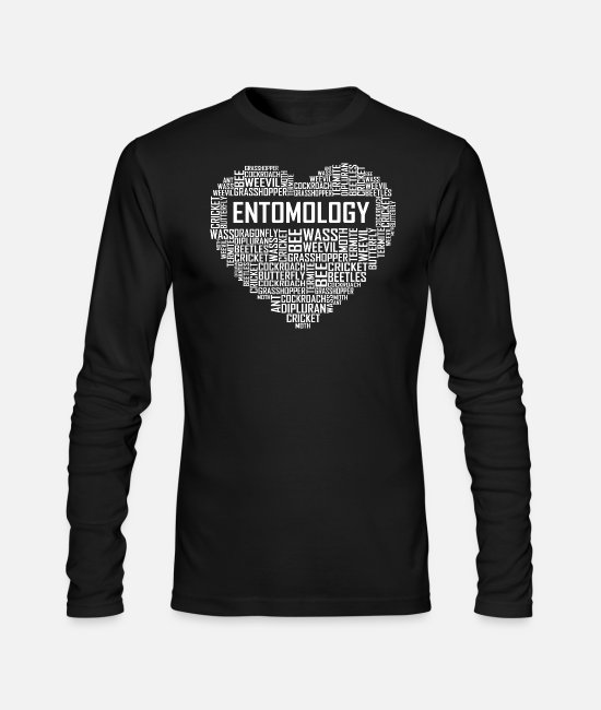 Bugs Long-Sleeved Shirts - Entomology Heart - Men's Longsleeve Shirt black