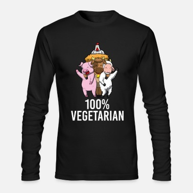 Vegetarian 100% Vegetarian Veggie AF Vegan Statement - Men's Longsleeve Shirt
