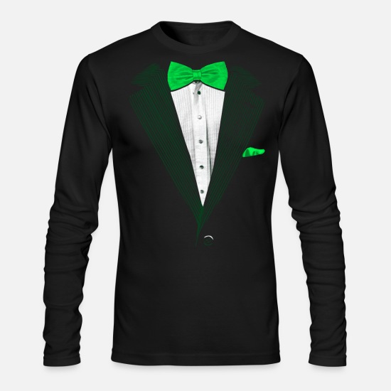 Green Long-Sleeve Shirts - St.Patrick's Day Green Tuxedo Costume - Men's Longsleeve Shirt black
