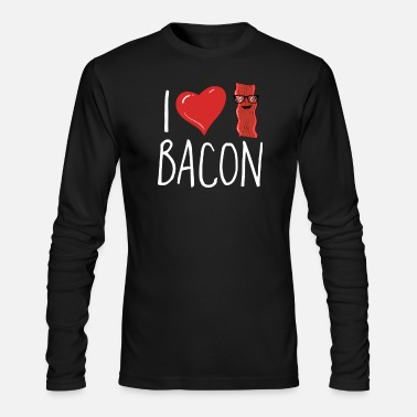 Bacon I Love Bacon Tshirt Geeky Glasses Heart Bacon - Men's Longsleeve Shirt