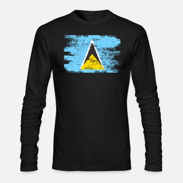 Saint Lucia Saint Lucia Flag Gift Country Patriotic Travel Shirt Americas Light - Men's Long Sleeve T-Shirt by Next Level