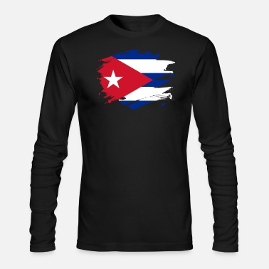 Cuba Cuba Paint Splatter Flag Cuban Pride Design - Men's Longsleeve Shirt