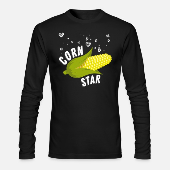 Corn Long-Sleeve Shirts - Corn star Shirt yellow corny Cob raining Popcorn - Men's Longsleeve Shirt black