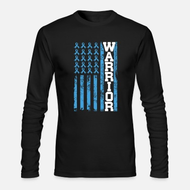 Ribbon Flag Prostata Cancer Warrior USA Blue Ribbon Flag - Men's Longsleeve Shirt