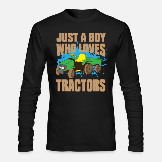 Year Of Birth Long-Sleeve Shirts - Just a Boy who loves Tractors Birthday Child - Men's Longsleeve Shirt black