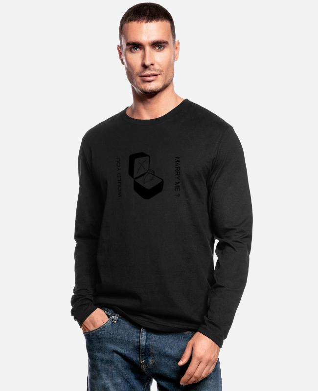 Engagement Long-Sleeved Shirts - MARRY ME - Men's Longsleeve Shirt black