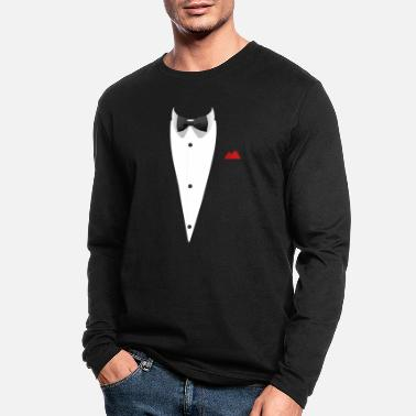 Wedding Tuxedo T Shirt with Bowtie Funny Gift For Weddings - Men's Longsleeve Shirt