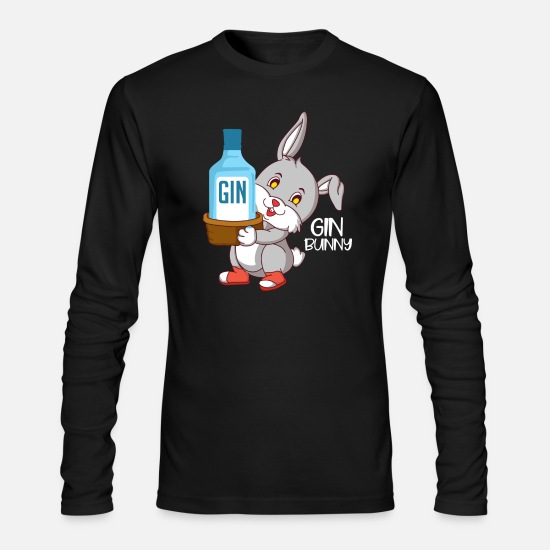 Gin Long-Sleeve Shirts - Gin Bunny - Gin Bottle - Men's Longsleeve Shirt black