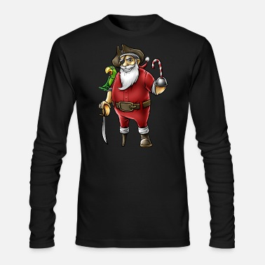 Arri Santa Pirate Funny Christmas Candy Cane Hook Hand - Men's Longsleeve Shirt